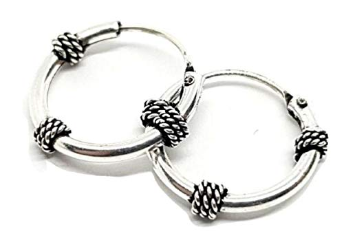 TANAMI Jewellery Supplies for Hoop Earrings Rope Twist Bali 22g (0.6mm) Ethnic Rings Silver Boxed Style 1 Great for DIY Jewelry Gift for Women Girls