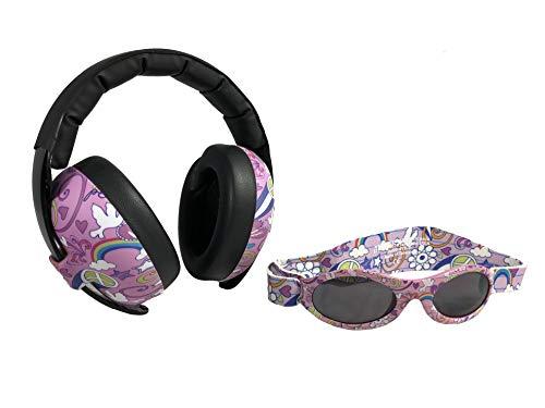 BANZ oorbeschermers met gehoorbescherming en zonnebril voor baby's en peuters (combipakket) roze geblazen