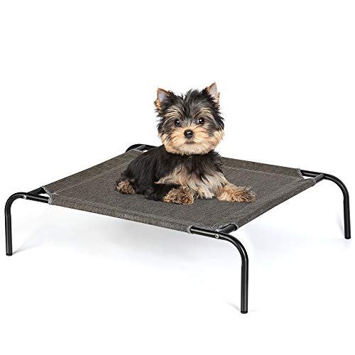 HAITRAL Elevated Pet Bed - Small Cat Bed, Small Pet Cot for Dogs Cats Outdoor Indoor Camping Raised Cot -27 x 21 x 7 Inches-Black Linen
