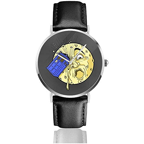 Unisex Business Casual Doctor Who Zeitreise zum Mond Uhren Quarz Leder Uhr