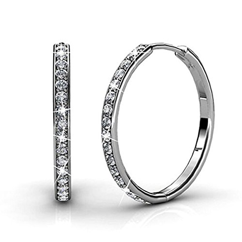 Creolen Ohrrings Swarovski Element Kristall für Damens Loop-Ohrrings 18 Karat Weißgold Plattiert Ohrstecker Silber Geschenk für Mama Ehefrau Dame Hypoallergenic Ohrringe