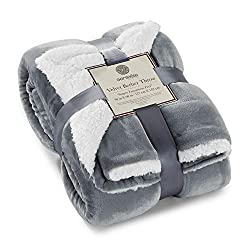 Genteele luxurious micro-plus sherpa throw in gray