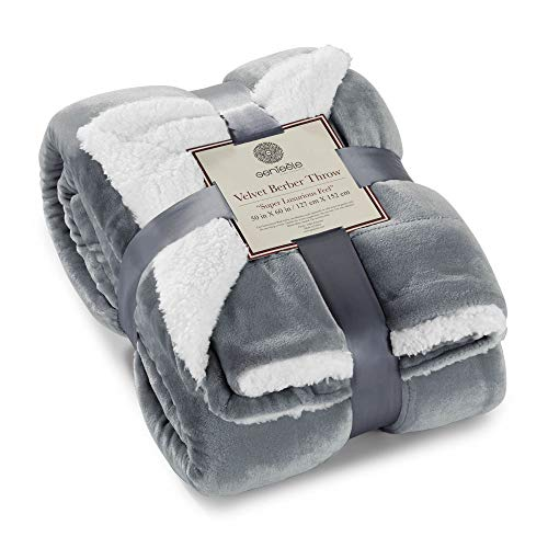 Genteele Sherpa Throw Blanket Super Soft Reversible Ultra Luxurious Plush Blanket (50 inches x 60 inches, Gray/White)
