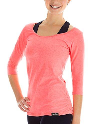 WINSHAPE Damen Fitness Yoga 3/4-arm Shirt, neon-Coral, L