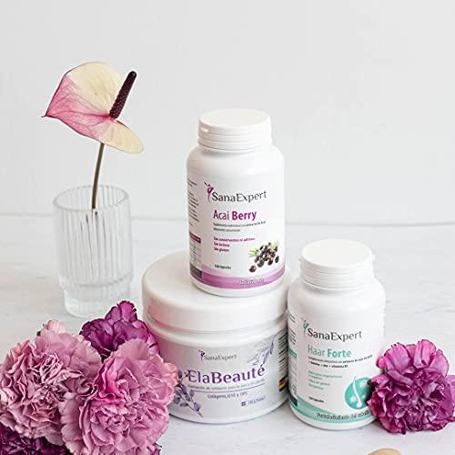 Pack Venus - Es Tiempo de florecer, Colageno, biotina y antioxidantes - SanaExpert Haar Forte, Elabeauté y Acai Berry. Para el pelo y la piel Nutricosmetica natural
