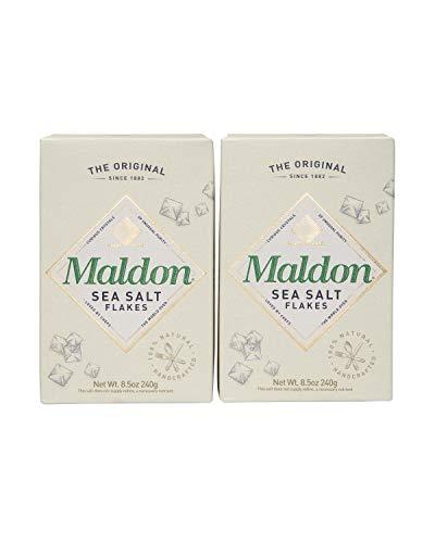 Maldon Salt, rökt havssalt flingor, försiktigt rökt över ek, handgjorda, gourmet, pyramidkristaller 2,5 dl (paket med 2)