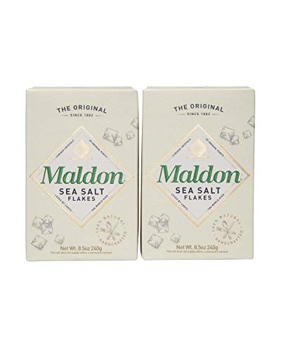 Maldon Salt, Sea Salt Flakes, 8.5 oz (240 g), 2 Count, Kosher, Natural, Handcrafted, Gourmet, Pyramid Crystals
