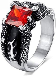 خاتم مجوهرات خاتم مع أحجار حمراء للرجال خمر التنين مخلب ريترو الإغراق