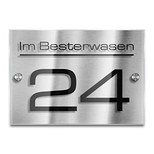 Metzler Moderne Hausnummer aus Edelstahl - Acrylglas individuell Anpassbar