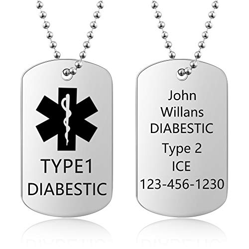 DaMei Mens Personalised Medical Alert ID Necklace for Men Women Stainless Steel 22' Chain Customised Dog Tag Military Emergency Med Alert Necklace for Father Best Friend (with Logo)