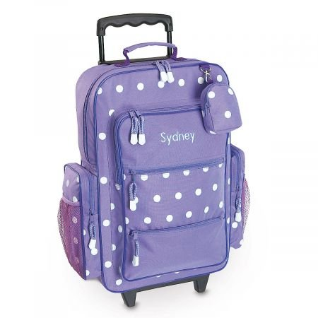 "Personalized Rolling Luggage for Kids – Purple Polka Dot Design, 6"" x 15.5' x 23'H, By Lillian Vernon"