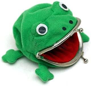 Electomania Frog Shape Cute Animal Face Plush Coin Purse, Green