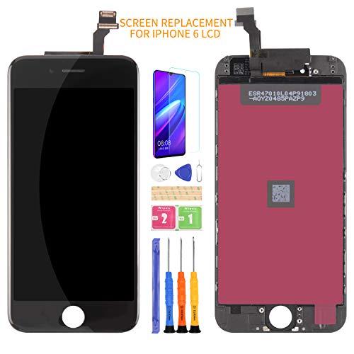 Kit di montaggio per schermo LCD di ricambio per iPhone 6, con cornice, pellicola temperata, colla e strumenti, senza pulsante Home (nero)