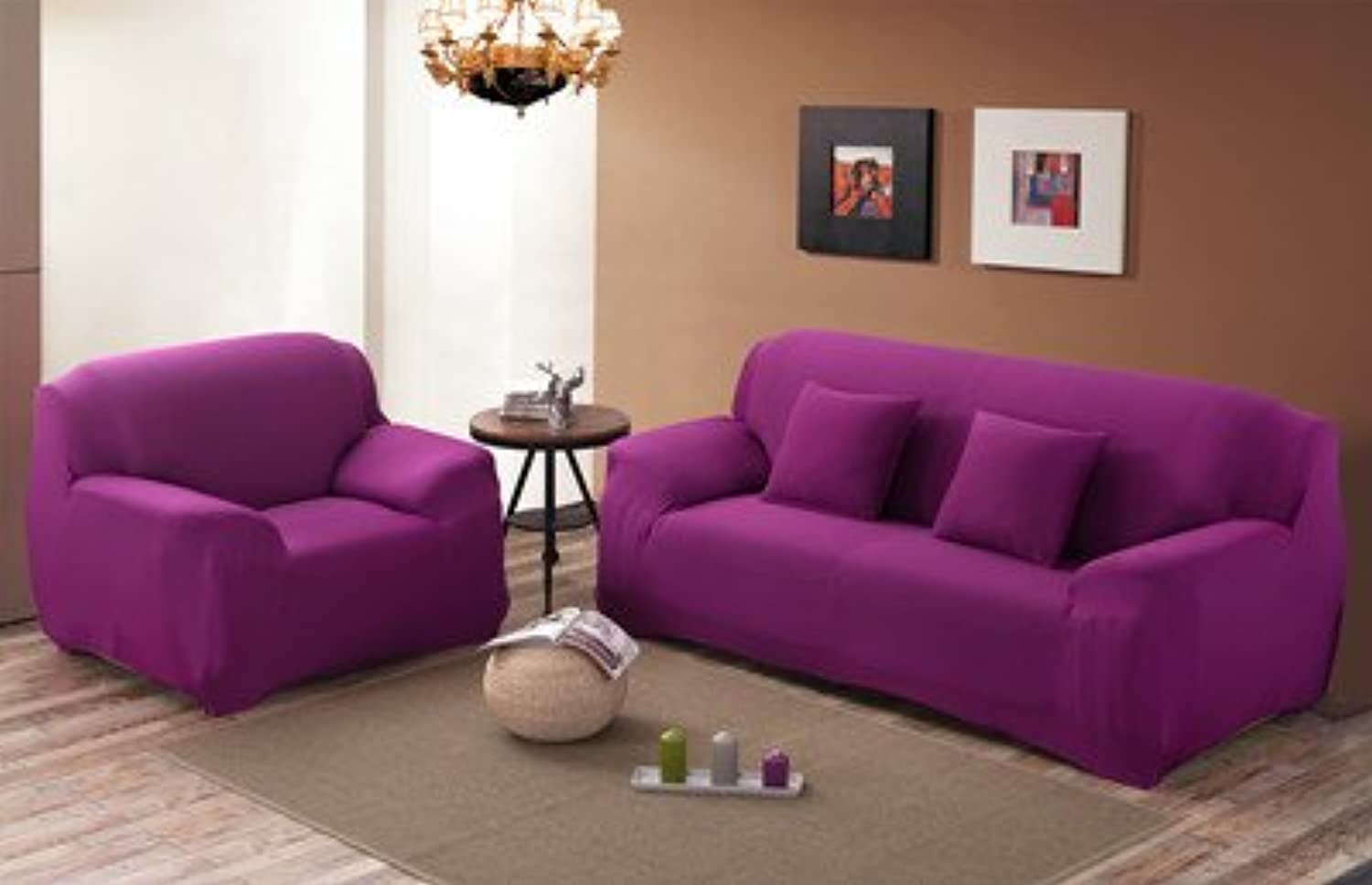 Farmerly KISS Queen Solid Sofa Cover Elastic Knitted Fabric slipcovers All-Inclusive Couch case for All Size Shape Sofa   Sweets Purple, 90-140cm