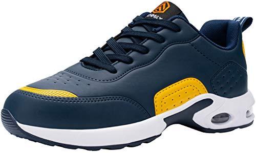 DYKHMILY Zapatillas de Seguridad Hombres, Colchón de Aire Zapatillas de Trabajo con Punta de Acero Zapatos de Seguridad Ultra Liviano Transpirable Comodo Construcción Zapatos(Azul Amarillo,39EU)