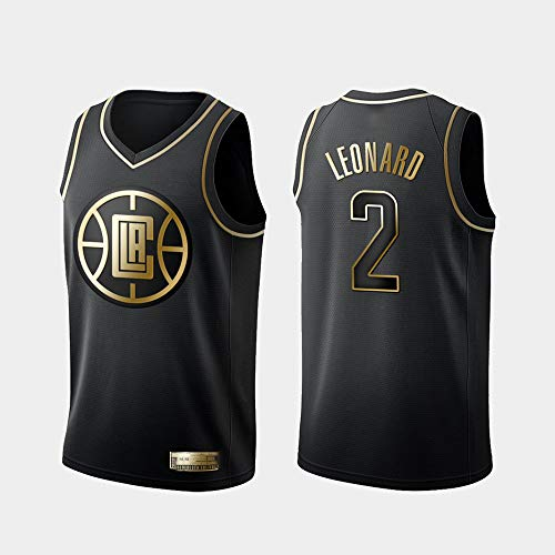 XIAOHAI Men's NBA Sports Basketball Jersey Los Angeles Clippers # 2 Kawhi Leonard Transpirable Resistente al Desgaste Bordado Baloncesto Swingman Jerseys Camiseta Deportiva Jerseys,Negro,M