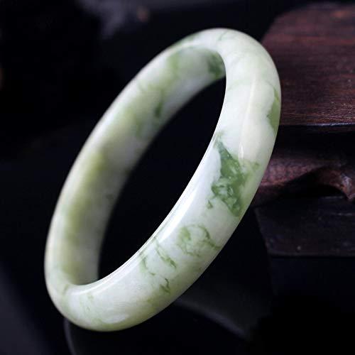 FHYUJ Brazalete de jade natural, pulsera de jade turquesa claro, estilo chino, joyería Feng Shui, trae buena suerte, el mejor regalo para amante, con caja de joyería (54-64 mm)