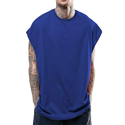 Camisetas De Tirantes Para Hombre,Moda Hip Hop Estilo Camiseta Sin Mangas De Algodón Mens Azul Tank Top De Entrenamiento Running Camisetas De Entrenamiento Muscular Culturismo Athletic Hombres Camise