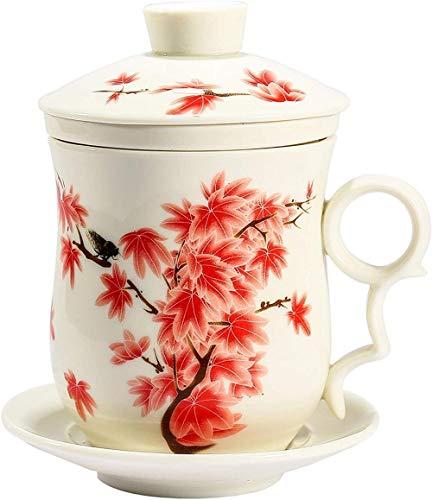 Taza de té de porcelana Taza de té china hecha a mano, patrón de arce rojo de cuatro piezas, taza de té blanca con filtro (300 ml)