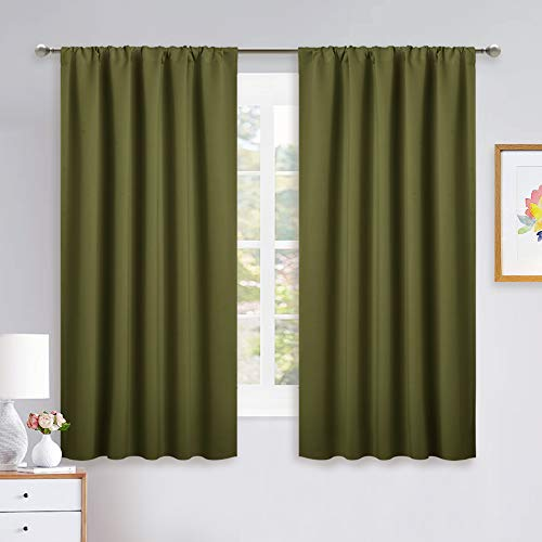 NICETOWN Blackout Draperies and Curtains - Thermal Insulated Window Decoration Blackout Curtains/Drapes for Kid's Room (Olive Green, 1 Pair, 52 x 63 inches)