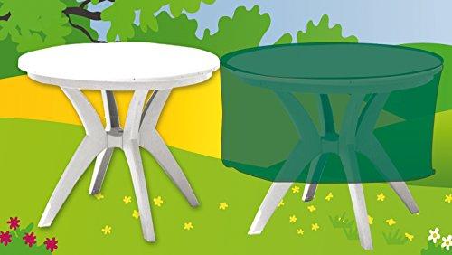 Funda cubre muebles de jardín impermeable Deluxe para mesa redonda. Poliéster verde.