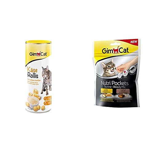 GimCat Käse Rollis - Getreidefreier und vitaminreicher Katzensnack mit echtem Hartkäse & Nutri Pockets - Knuspriger Katzensnack mit cremiger Füllung und funktionalen Inhaltsstoffen