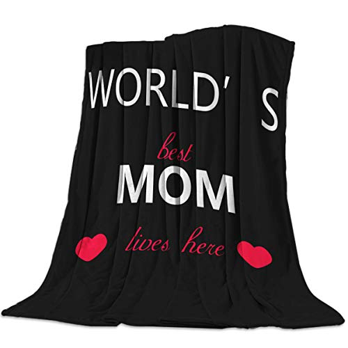 """T&H XHome Nursery Bed Blankets Flannel Fleece Throw Blanket World Best Mom Lives Here Warm Fleece Blankets,Baby,Toddler,pet Blanket for Crib, Stroller, Travel, Couch and Bed 50""""x60"""""""
