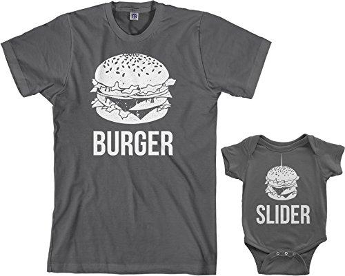 Threadrock Burger & Slider Infant Bodysuit & Men's T-Shirt Matching Set (Baby: 12M, Charcoal Men's: XL, Charcoal)
