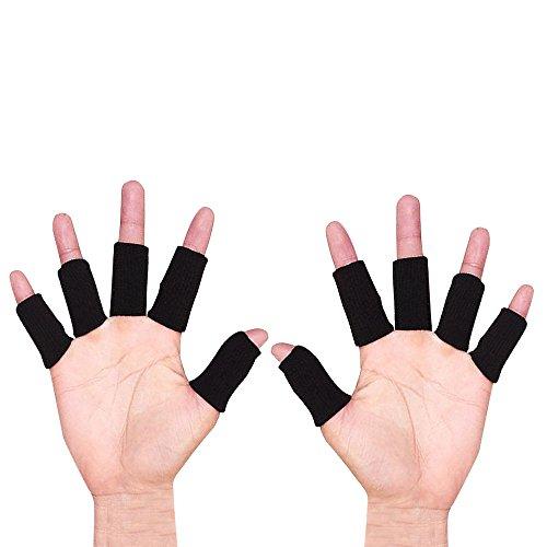 ONT Fingerverband Fingerschutz Sport Fingerbandage 10 STK Dehnbare Fingerhülle Schutz Fingerband fingerschutz zum Schutz beim Sport und bei Arthritis Schwarz