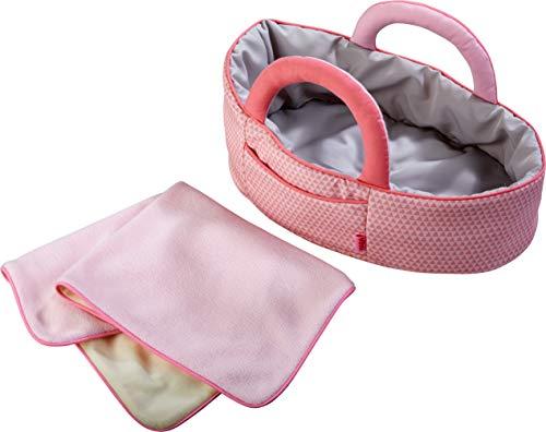 HABA 305072 - Puppentragetasche Rosarot, Puppenzubehör für Babypuppen und HABA-Stoffpuppen, Tragetasche und Decke, Spielzeug ab 18 Monaten