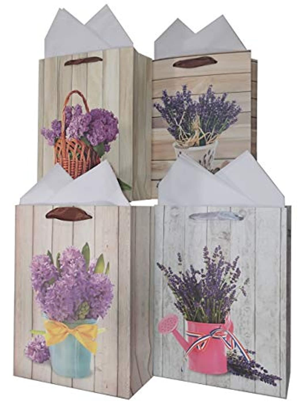 LARUX Gift Bag for Birthday Anniversary Mother's Day San Valentine with Wrapping Tissue Paper Long Lasting Small Size Set of 4 (Watering Can)
