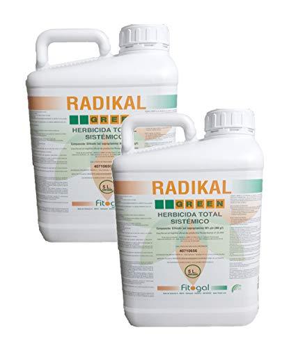 Fitogal Radikal Green Ultra Plus. Envase 2x5 L. Herbicida de acción Total sistémico no Residual para el Control de malezas. Glifosato Concentrado 36%. Post Emergencia.