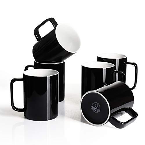 Mugaholics Porcelain Coffee Mug Set - 14oz for Coffee Tea Cocoa - Set of 6 Black M-604