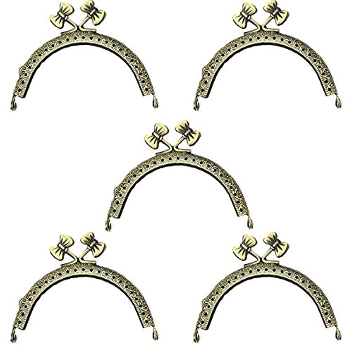 5pcs 85mm /3.3 inch Metal Frames Bow-Knot Snap Clasp for Small Coin Style Purse Antique Bronze Tone (Bronze)