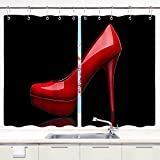 HATESAH Kitchen Curtains,Sex Women Shoes Red High Heels in Black Design,Short Cafe Curtains for Bathroom Window Treatment 2 Panels Sets Home Decor Drapes,55' Wx39 L