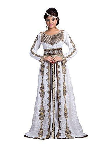 PalasFashion funda boda caftán vestido blanco de la mujer Blanco blanco 56