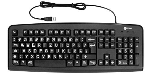 Tastatur mit großen Tasten und extra großer Schrift (Weiß auf Schwarz) mit Windows XP; Vista, 7, 8, 10 kompatibel (deutsche Version) - plug&play - Geemarc KBSV3_BLK_GE