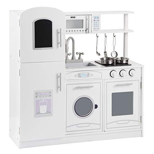 WOLTU Mini Cucina Giocattolo Moderna in Legno, con Kit di 5 Pezzi, Regalo per Bambini di 3 Anni, Bianca 81x26,5x84,5 cm KKE002