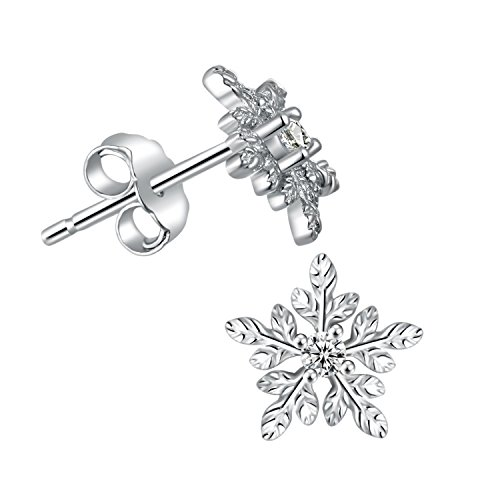 iSuperb Arete Pendientes con Forma de Copo de Nieve 925 con Circonita Plata Earrings Elegantee Joyas Mujer Pendiente de Moda