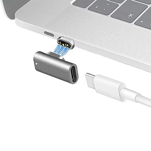 Sisyphy マグネット USB-C to USB-C アダプター、磁気 Type-C 変換 L字型 Magnetic対応、9ピン PD 100W急速充電 480Mbpsデータ転送 ビ映像出力なし McbookPro/Airおよびその他のUSB Cデバイス対応