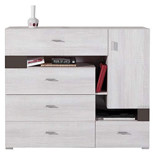 Furniture24 Kommode Next NX10 Schrank Sideboard mit Tür und 5 Schubladen Kinder Jugendzimmer