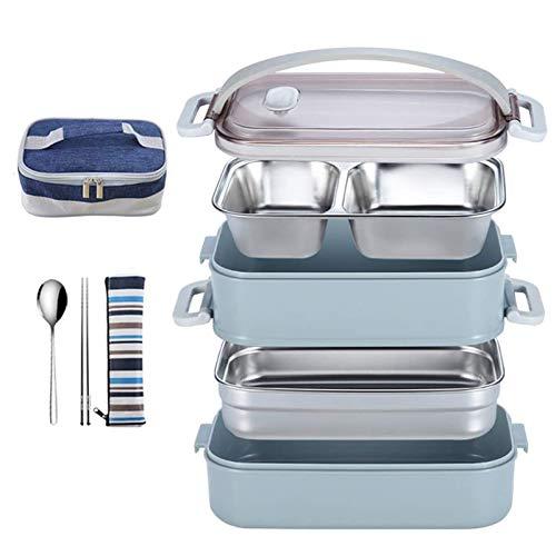 GWXLD Lunchbox Snackbox Edelstahl, Auslaufsichere Extrem Robust Lebensmittelaufbewahrungsbehälter Mit Löffel Essstäbchen
