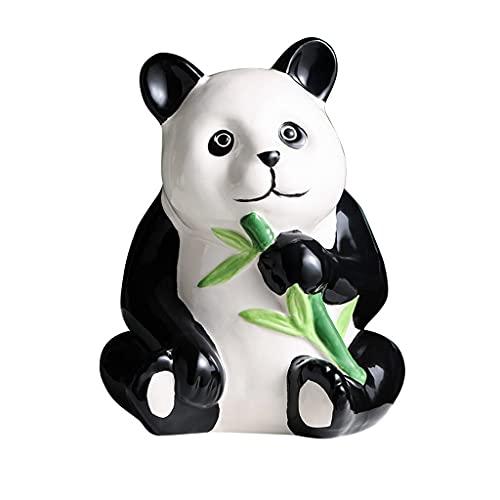 YHYH Alcancía Panda De Cerámica para Niños, Hucha Grande Y Bonita, Banco De Monedas Vintage Animal, Banco De Dinero Panda Blanco (Color : Must Break to Open)