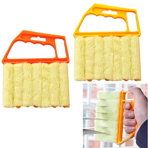 Chris.W 2Pack Window Blind Cleaner Duster Brush Microfiber Blind Cleaner Tools for Window Shutters Blind Air Conditioner Jalousie Dust