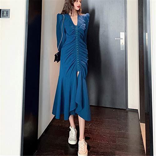 MIBKLPG Vrouwen Chique Mode Jurk Elegante Dames Ruches Jurk Blauwe Lantaarn Mouw Feestjurken