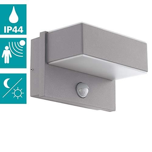 EGLO LED buiten-wandlamp Azzinano, 2 vlammen buitenlamp incl. bewegingsmelder, sensor-wandlamp gemaakt van staal en kunststof, kleur: zilver, wit, IP44