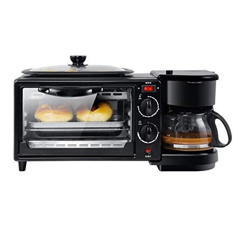 WZPG Multifunción 3 en 1 Fabricación de Desayuno, 8L Mini Horno eléctrico, Cafetera de Goteo/Horno de Pizza de Pan/Panar/tostadora Máquina de Desayuno