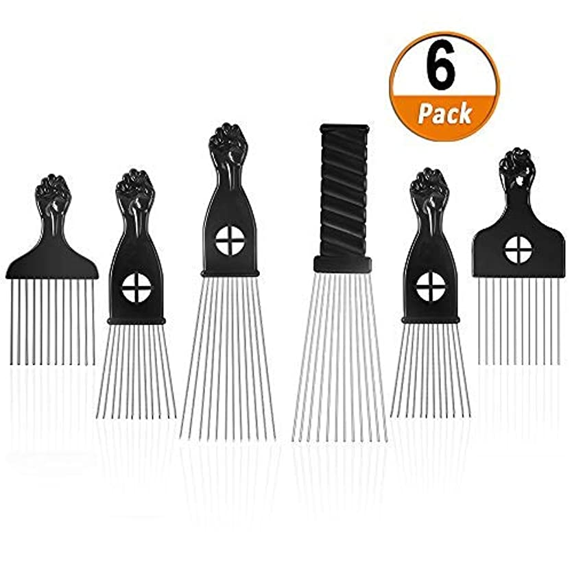 飢えた熟読するキャラクターAfro Pick 6 Pack Metal African American Afro Hair Comb Hairdressing Styling Tool Hair Pick with Black Fist [並行輸入品]