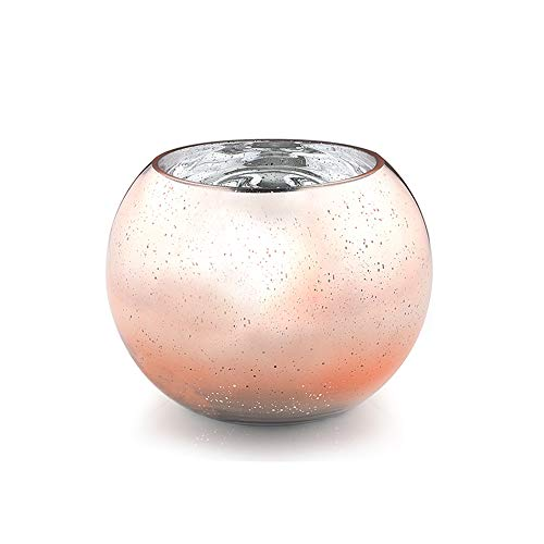 """WGV Bowl Glass Vase, Diameter 6"""", Height 4.5"""", Open Width 4"""", Rose Gold with Spot Bubble Planter Terrarium Container for Wedding Party Event, Home Office Decor, 1 Piece"""