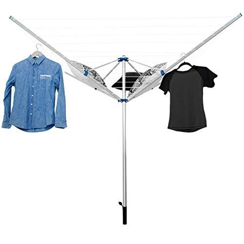 COSTWAY Tendedero Tipo Paraguas de Aluminio Plegable Soporte para Ropa para Exterior Jardín Camping
